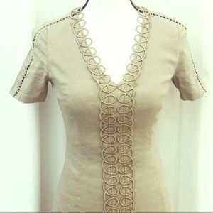 Elie Tahari taupe scalloped accents linen dress 0